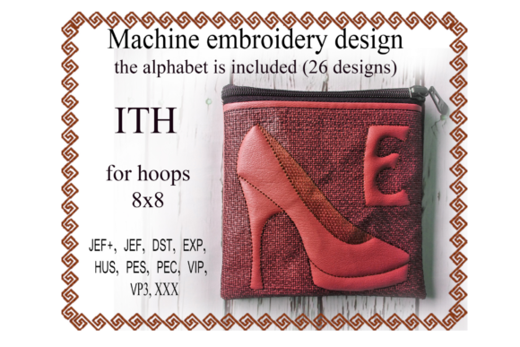 Shoe Letter Zip Bag - in the Hoop Embroidery
