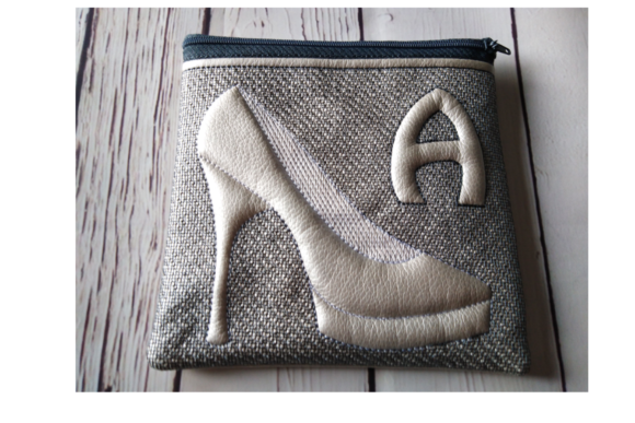 Shoe Letter Zip Bag - in the Hoop Embroidery Download