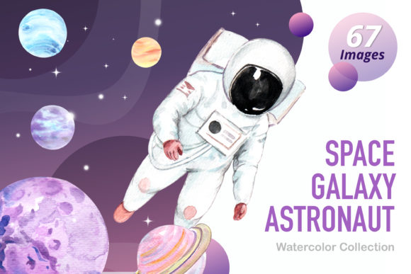 Space Galaxy Astronaut Watercolor Set Graphic Illustrations By WatercolorEps