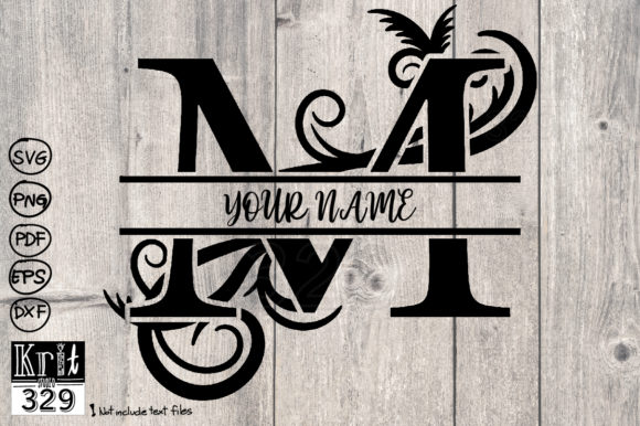 Split Monogram Svg Alphabet M Graphic Crafts By Krit-Studio329