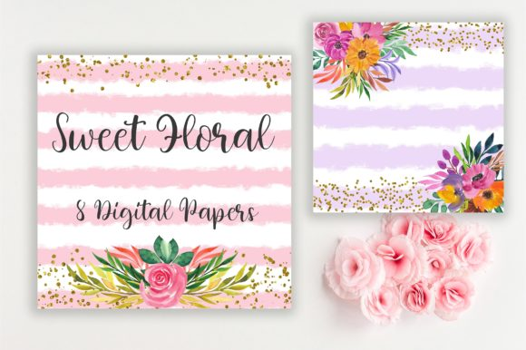 Sweet Floral Glitter Digital Papers Graphic Backgrounds By PinkPearly