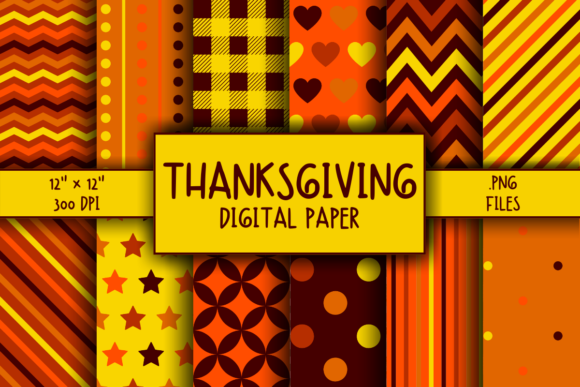 Print on Demand: Thanksgiving Pattern Digital Paper Graphic Patterns By atlasart