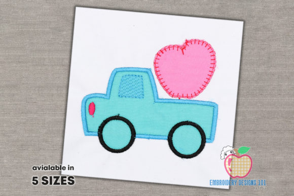 Truck with Heath Applique Transportation Embroidery Design By embroiderydesigns101