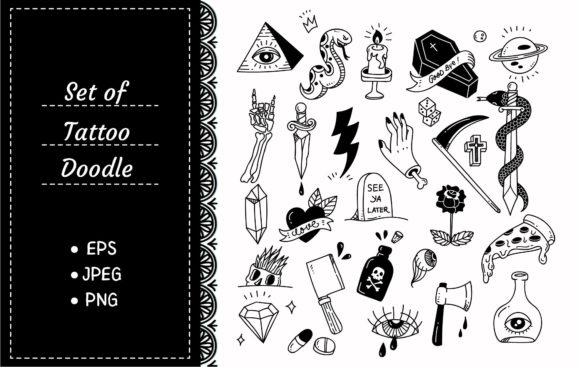 Various Tattoo Element Doodle Graphic Illustrations By Big Barn Doodles