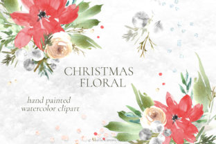 Print on Demand: Watercolor Christmas Floral Clipart Graphic Illustrations By MariaScaroniAtelier