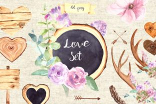 Watercolor Love Clip Art Set Graphic Illustrations By tatibordiu
