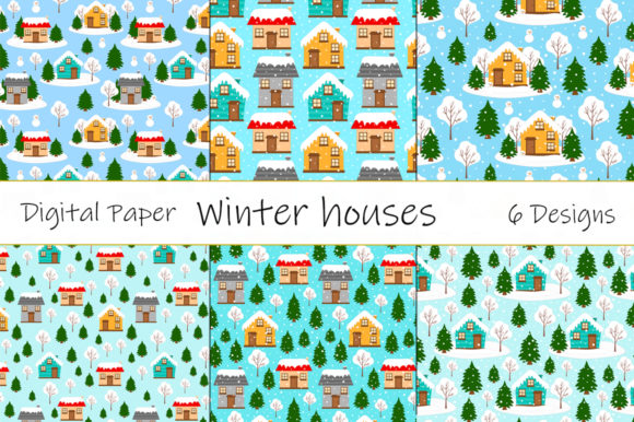 Winter Houses Patterns. Houses Vector Graphic Patterns By shishkovaiv