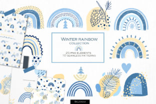 Winter Rainbow Collection Graphic Illustrations By HappyWatercolorShop