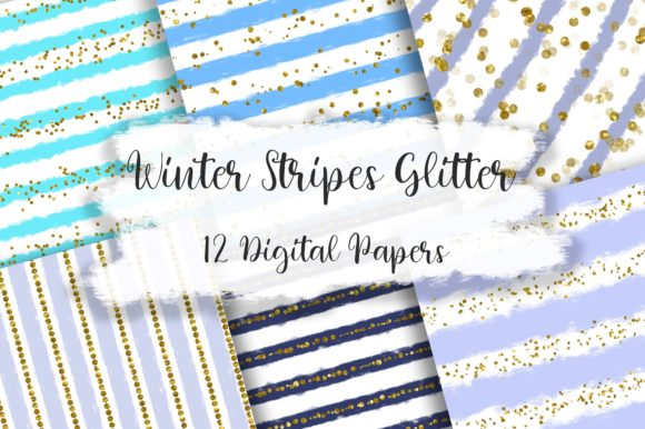 Winter Stripes Glitter Background Graphic Backgrounds By PinkPearly