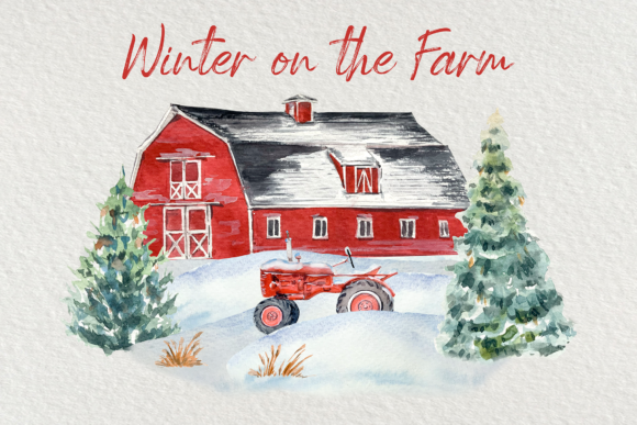 Winter on the Farm Clip Art Set Graphic Illustrations By tatibordiu