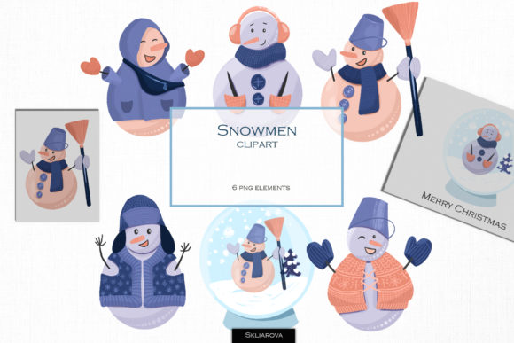 Winter Snowman Clipart Graphic Illustrations By HappyWatercolorShop