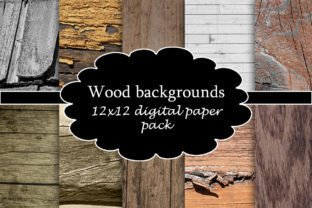 Print on Demand: Wood Backgrounds Digital Paper Pack Graphic Backgrounds By A Design in Time