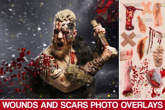 Wounds and Scars, Blood Splatter Overlay Graphic Actions & Presets By 2SUNS