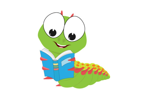 Print on Demand: Cute Caterpillar Reading a Book Graphic Illustrations By curutdesign