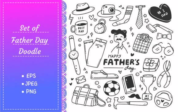 Father's Day Cute Doodle Set Graphic Illustrations By Big Barn Doodles