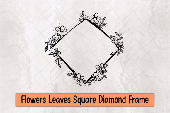 Flowers Leaves Square Diamond Frame Graphic Crafts By TakeNoteDesign