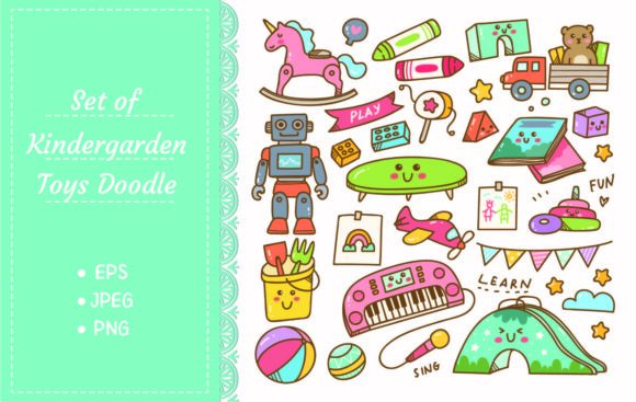 Kindergarten Toys and Equipment Doodle Graphic Illustrations By Big Barn Doodles