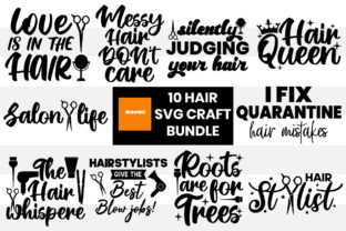 Print on Demand: 10 Hair Svg Craft Bundle Graphic Print Templates By Maumo Designs