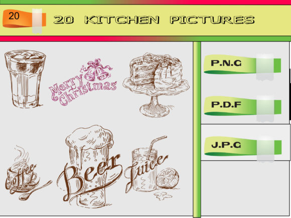 Print on Demand: 20 KITCHEN PICTURES DRAWING Graphic Illustrations By kdp Edition