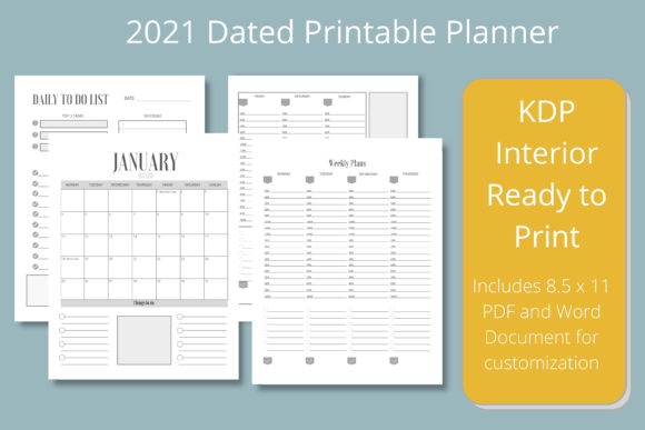 Print on Demand: 2021 Dated Printable Planner Graphic KDP Interiors By Hustle Smart Shop