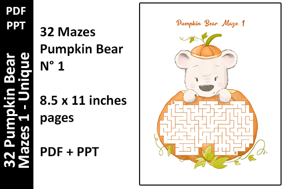 32 Colored Pumpkin Bear Mazes 1 - Unique Graphic KDP Interiors By Oxyp