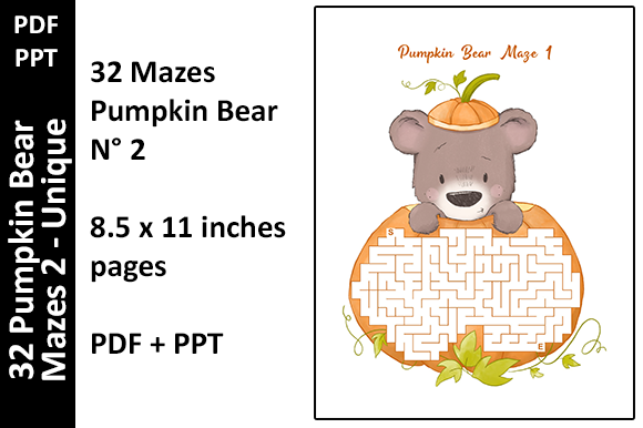 32 Colored Pumpkin Bear Mazes 2 - Unique Graphic KDP Interiors By Oxyp