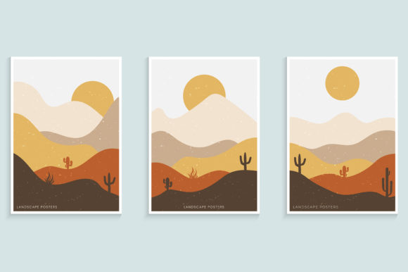 Abstract Minimalist Landscape Poster Graphic Backgrounds By medelwardi