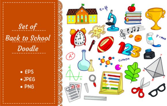 Back to School Doodle Elements Graphic Illustrations By Big Barn Doodles