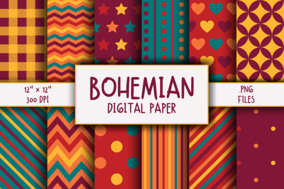 Print on Demand: Bohemian Pattern Digital Paper Graphic Patterns By atlasart