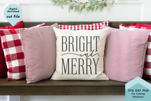 Print on Demand: Bright and Merry Christmas SVG Cut File Graphic Crafts By Lettershapes