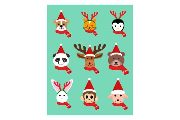 Print on Demand: Christmas Animals Character in Flat Graphic Illustrations By Redvy Creative