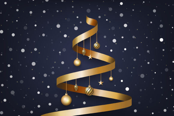 Christmas Background with Gold Ribbon Graphic Backgrounds By murnifine