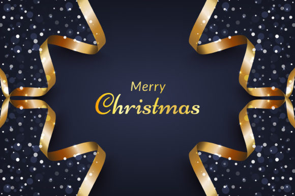 Christmas Background with Snow and Gold Graphic Backgrounds By murnifine