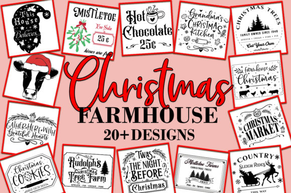 Print on Demand: Christmas Farmhouse Bundle SVG Design Graphic Crafts By freelingdesignhouse