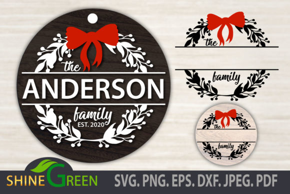 Christmas Floral Family Monogram Round Graphic