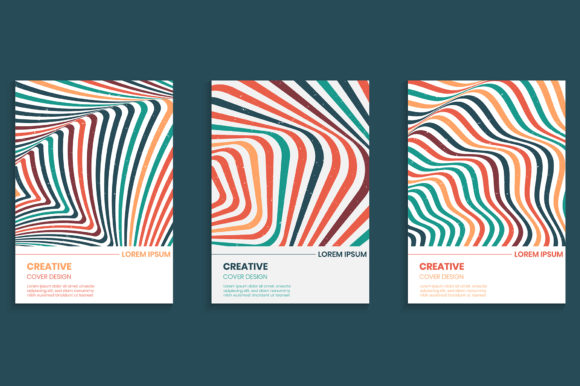 Cover Design Set with Wavy Stripes Lines Graphic Backgrounds By medelwardi
