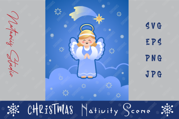 Cute Christmas Angel on the Clouds. Graphic Crafts By Natariis Studio