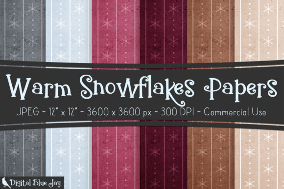 Digital Textured Paper - Warm Snowflakes Graphic Backgrounds By digitalbluejay