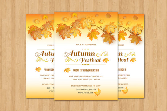 Print on Demand: Fall / Autumn Party Flyer Graphic Print Templates By sistecbd