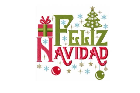 Feliz Navidad Christmas Embroidery Design By Sew Terific Designs