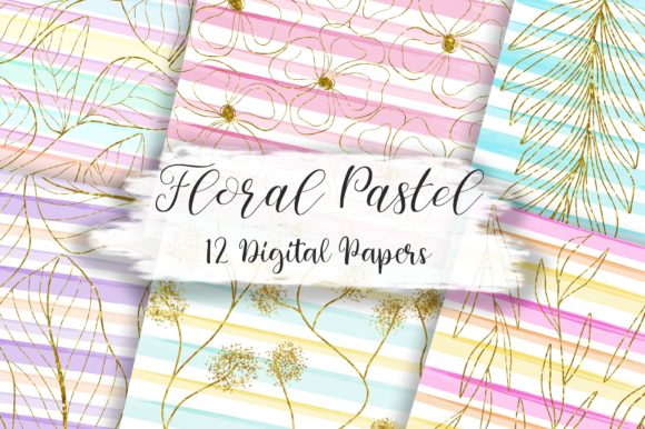 Floral Glitter Pastel Stripes Background Graphic Backgrounds By PinkPearly