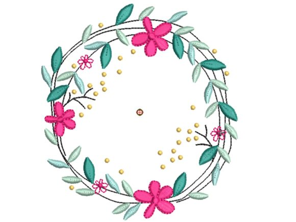 Flower Circle Wedding Flowers Embroidery Design By carasembor