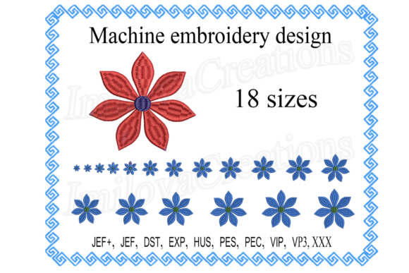 Flower Design Single Flowers & Plants Embroidery Design By ImilovaCreations