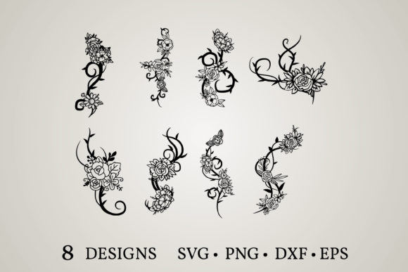 Flower Vine Svg Graphic Print Templates By Euphoria Design