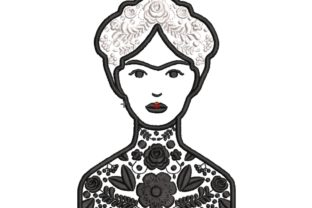 Frida Black and White Mexico Embroidery Design By carasembor