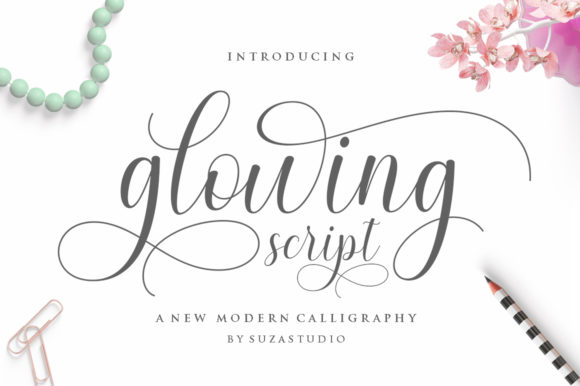 Print on Demand: Glowing Script & Handwritten Font By Suza Studio