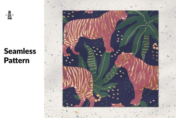 Print on Demand: Gold Tiger Seamless Pattern Graphic Patterns By northseastudio