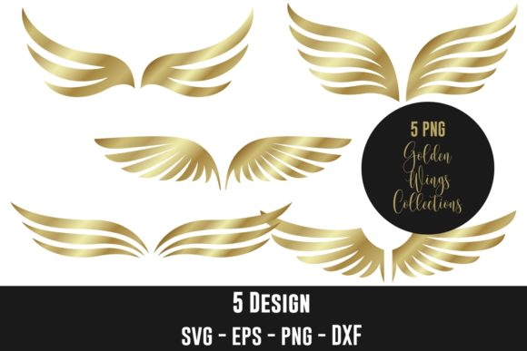 Golden Wings Vector Clip Art Graphic Illustrations By creation