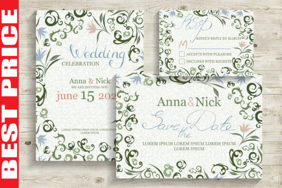 Green Wedding Invitation Cards Graphic Print Templates By AstraDesign