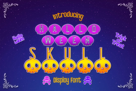 Print on Demand: Halloween Skull Decorative Font By numnim